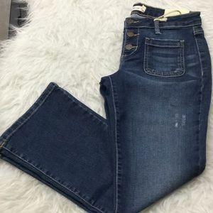 Cello cropped bootcut medium wash denim jeans